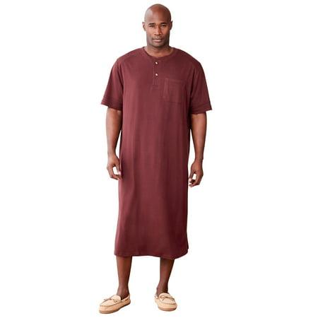 KingSize Men's Big & Tall Short-Sleeve Henley Nightshirt Pajamas