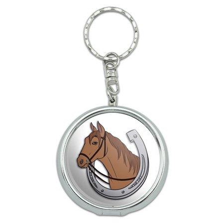 Horseshoe Keychain (Brown Horse in Horseshoe Hoof Good Luck Bridle Portable Ashtray Keychain )