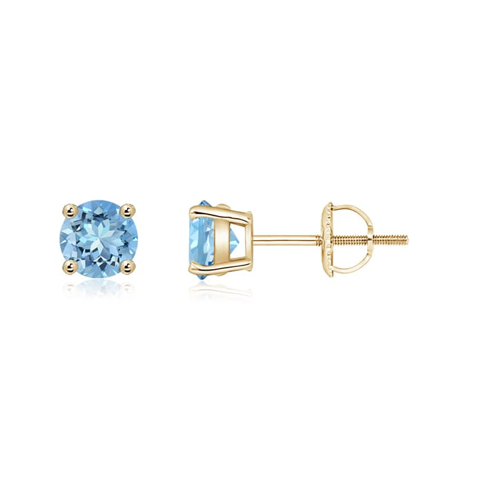 Angara Basket-Set Aquamarine Stud Earrings in White Gold hTdcNL