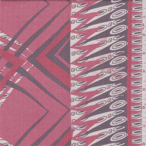 Coral Red Chevron Silk Chiffon, Fabric By the Yard