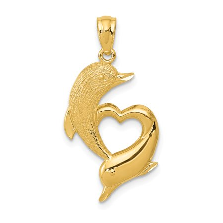 14k Gold Double Dolphins Pendant (Roy Rose Jewelry 14K Yellow Gold Diamond-cut Satin & Polished Dolphins Heart)