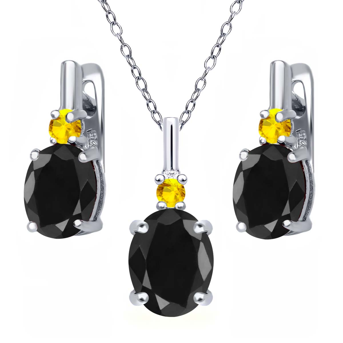 7.71 Ct Black Sapphire Yellow Sapphire 925 Sterling Silver Pendant Earrings Set by
