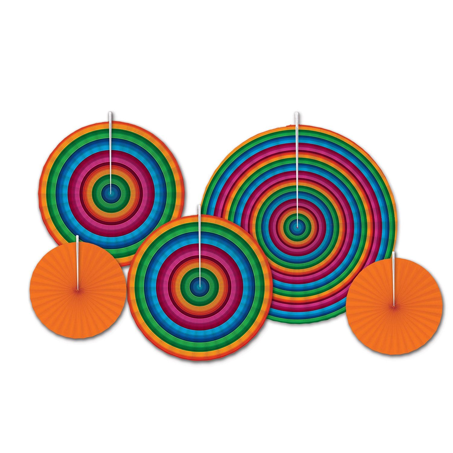 Club Pack of 60 Celebratory Decorative Orange and Rainbow Paper Party Hanging Fans 16""