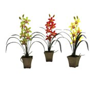 Nearly Natural Cymbidium Orchid Silk Flower - Set of 3
