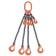 "9/32"" x 5' - Adjustable Quad Leg Chain Sling w/ Sling Hook - Grade 8"