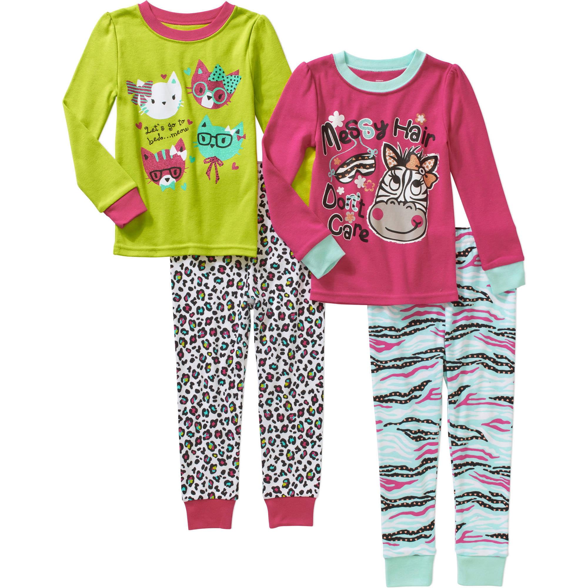 Baby Toddler Girl Cotton Tight Fit Pajamas, 4-piece set
