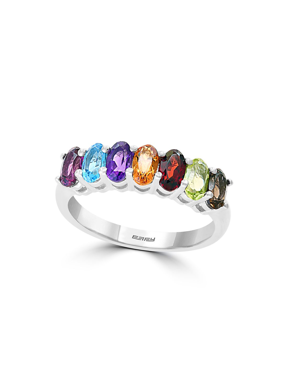 Sterling Silver & Multi-Stone Row Ring