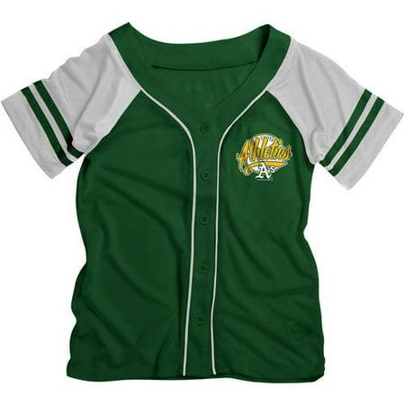 MLB Oakland Athletics Girls Short Sleeve Button Down Mesh Jersey