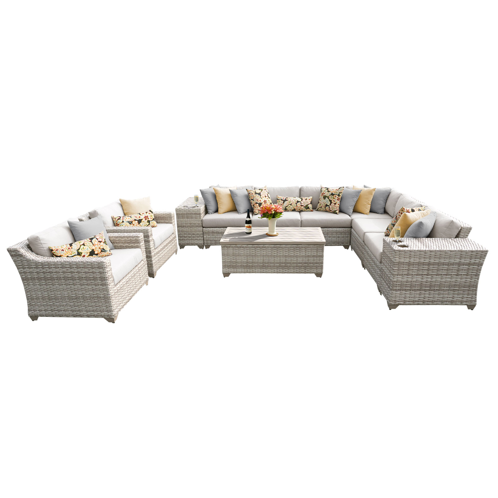 New Haven 11 Piece Outdoor Wicker Patio Furniture Set 11d by TK Classics
