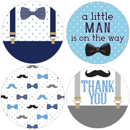 Little Man Baby Shower Favor Labels 40ct | Party Decoration Stickers | 1 3/4 in