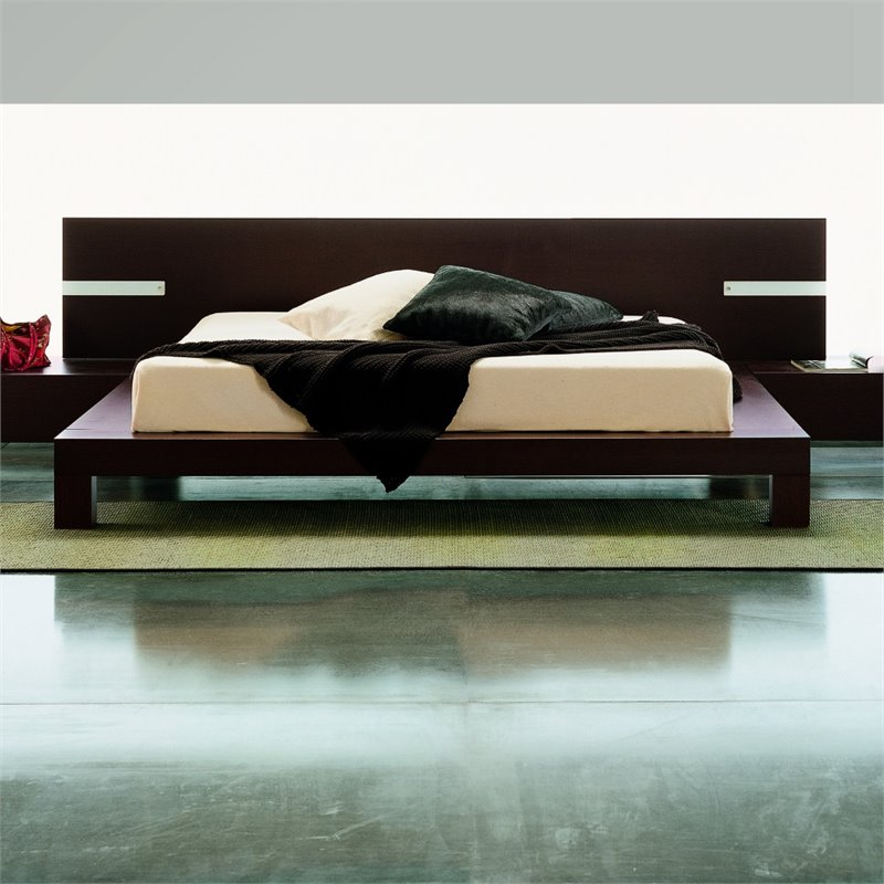 Rossetto New Win Queen Panel Bed without Lights in Wenge