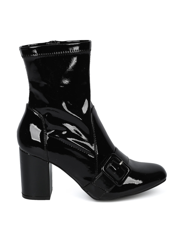 New Women Wild Diva Marcus-31 Patent PU Round Toe Belted BLock Heel Bootie