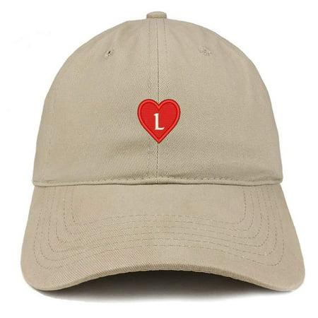 bf2e1713332 Trendy Apparel Shop Alphabet L Heart Emoji Embroidered Cotton Dad Hat- Khaki  - Walmart.com