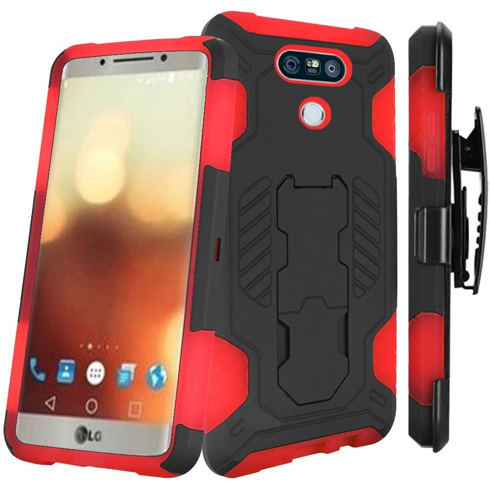 For LG G6 SuperCoil Hybrid Premium Kickstand Cover with Holster Combo - Black PC / Red