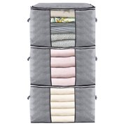 Large Capacity Clothes Storage Bag Organizer with Reinforced Handle Thick Fabric for Comforters, Blankets, Bedding, Foldable with Sturdy Zipper, Clear Window, 3 Pack, 90L, Grey