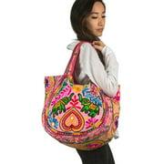 TribeAzure Pink Elephant Canvas Shoulder Bag Handbag Tote Purse Casual Spacious Summer Spring Top Handle