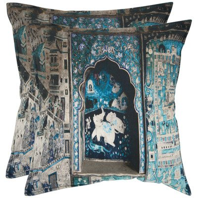 Safavieh Pillows Collection Adari Decorative Pillow, 18-Inch, Turquoise and Grey, Set of 2 by