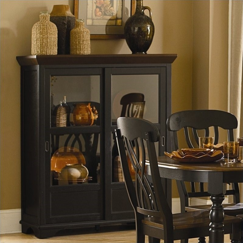 Trent Home Ohana Curio Cabinet in Antique Black and Warm Cherry by Homelegance