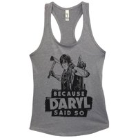 "Womens Basic Tank Top ""Because Daryl Said So"" Walking Dead Shirt Gift Large, Heather Grey"
