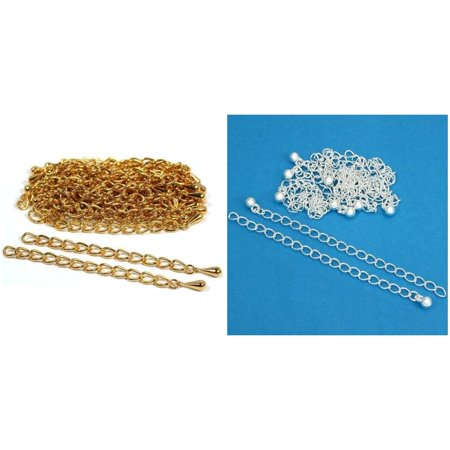 Gold & Silver Plated Necklace Chain Extenders Jewelry Repair Findings Kit 40 Pcs