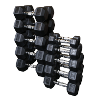 Body Solid SDRS550 Rubber Hex Dumbbell Set - 5-50lbs