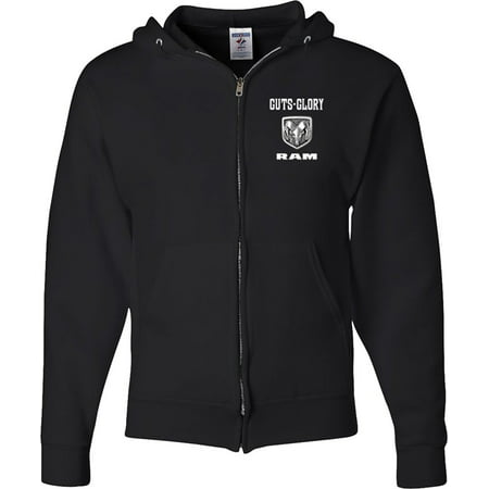 Mens Dodge Guts and Glory Ram (Pocket Print) Full Zip Hoodie - Black