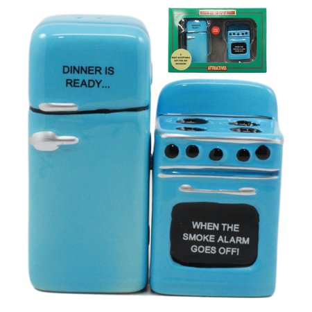 Ebros Retro Blue Old Fashioned Vintage Refrigerator And Kitchen Stove Salt And Pepper Shakers Ceramic Magnetic Figurine Set -