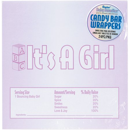 Baby Favorites Candy Bar Wrappers 24/Pkg-It's A Girl - Girl Candy Bar