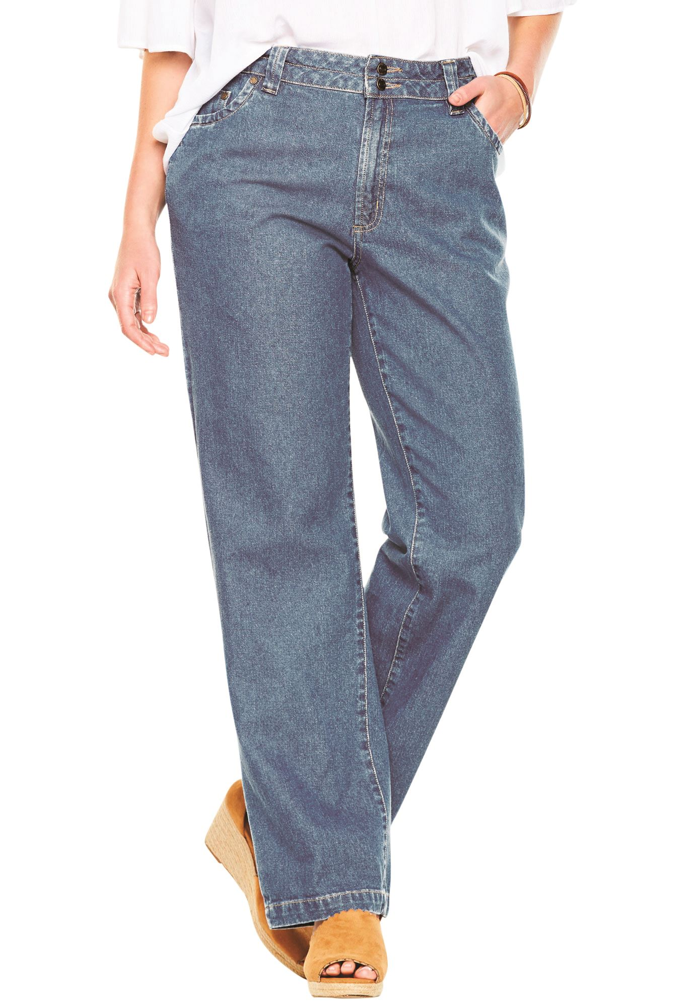 Plus Size Petite Wide Leg Cotton Jean