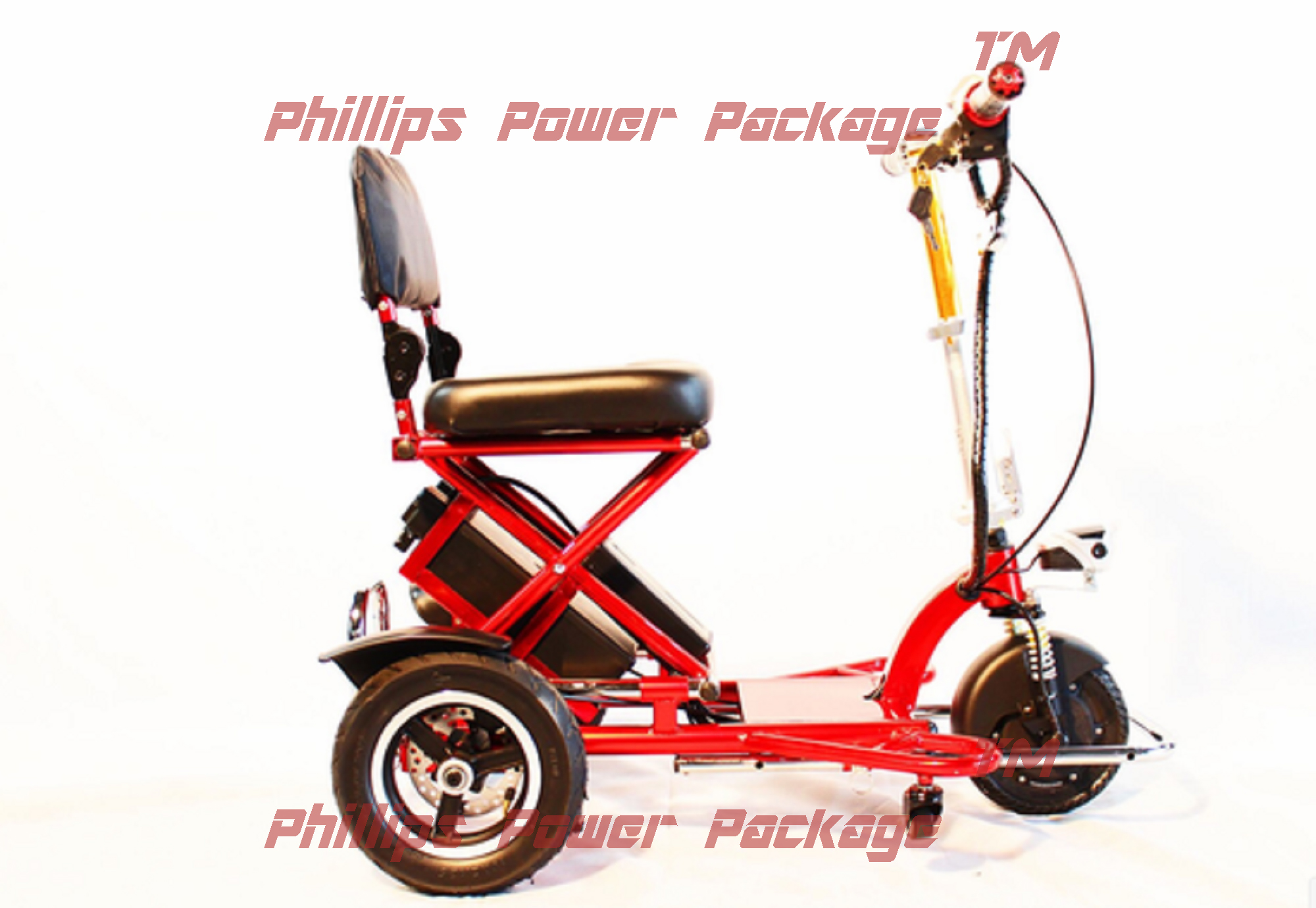 Enhance Mobility Triaxe Sport Portable Folding Scooter 3-Wheel Red PHILLIPS POWER PACKAGE TM $500 VALUE by