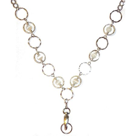 Hidden Hollow Beads White Circles Women's Chain Fashion Lanyard Necklace, Jewelry ID Badge and Key Holder, 34 in.