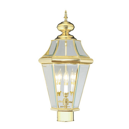 Outdoor Post 3 Light Georgetown With Clear Beveled Glass Polished Brass size 23 in 180 Watts - World of