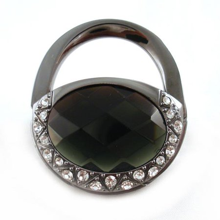 Black Bag Holder w/ Dark Green Oval Checkerboard Cut & Clear Brilliant Cut Glass (Cut 24% Lead Crystal)