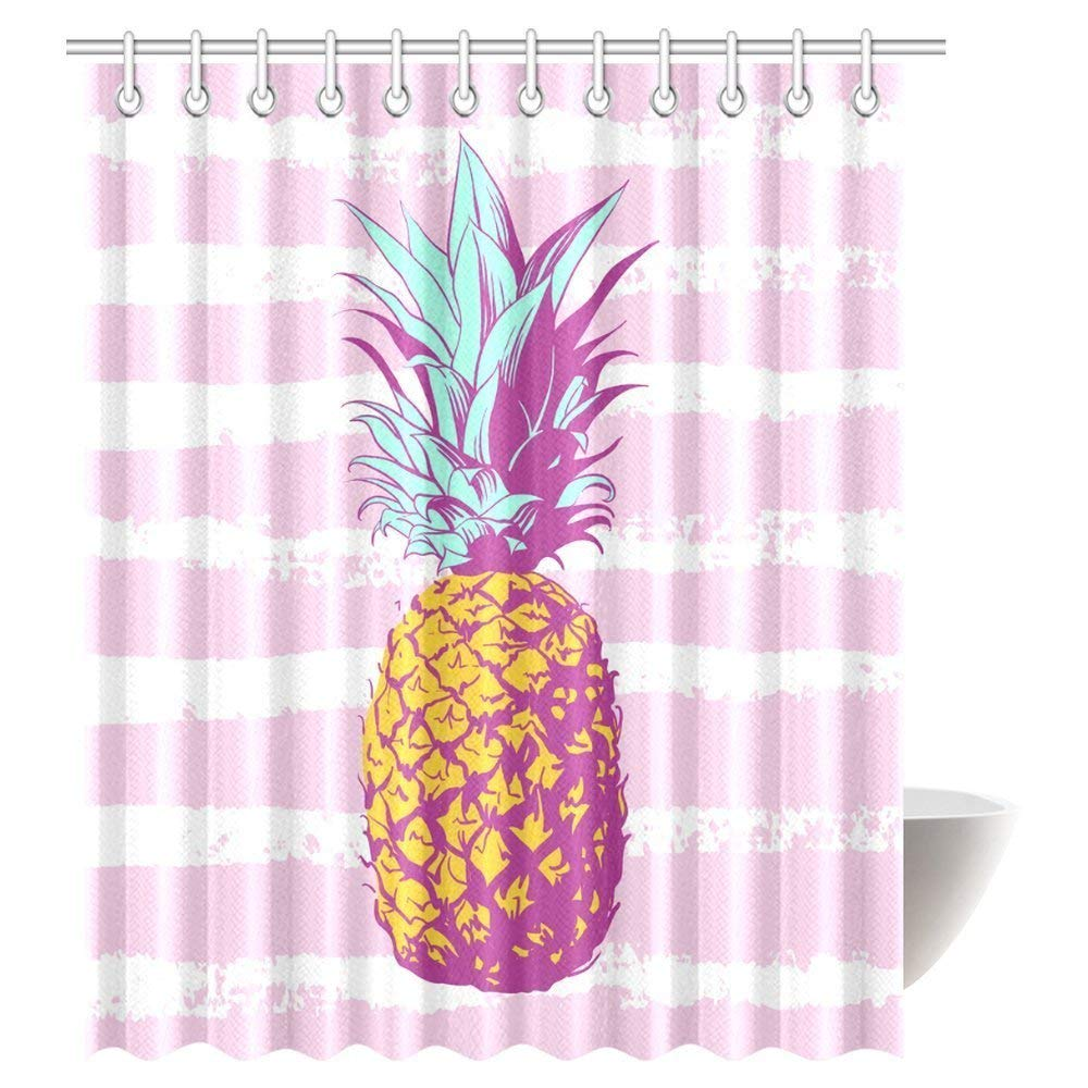 WOPOP Pineapple With Pink White Striped Shower Curtain
