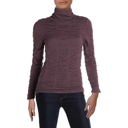 Nic + Zoe Womens Scrunched Up Silk Blend Long Sleeves Turtleneck Top