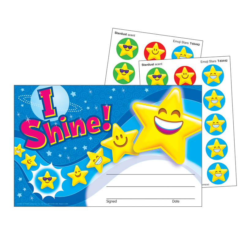 (6 PK) STINKY STICKERS AWARD I SHINE EMOJI SCRATCH N SNIFF