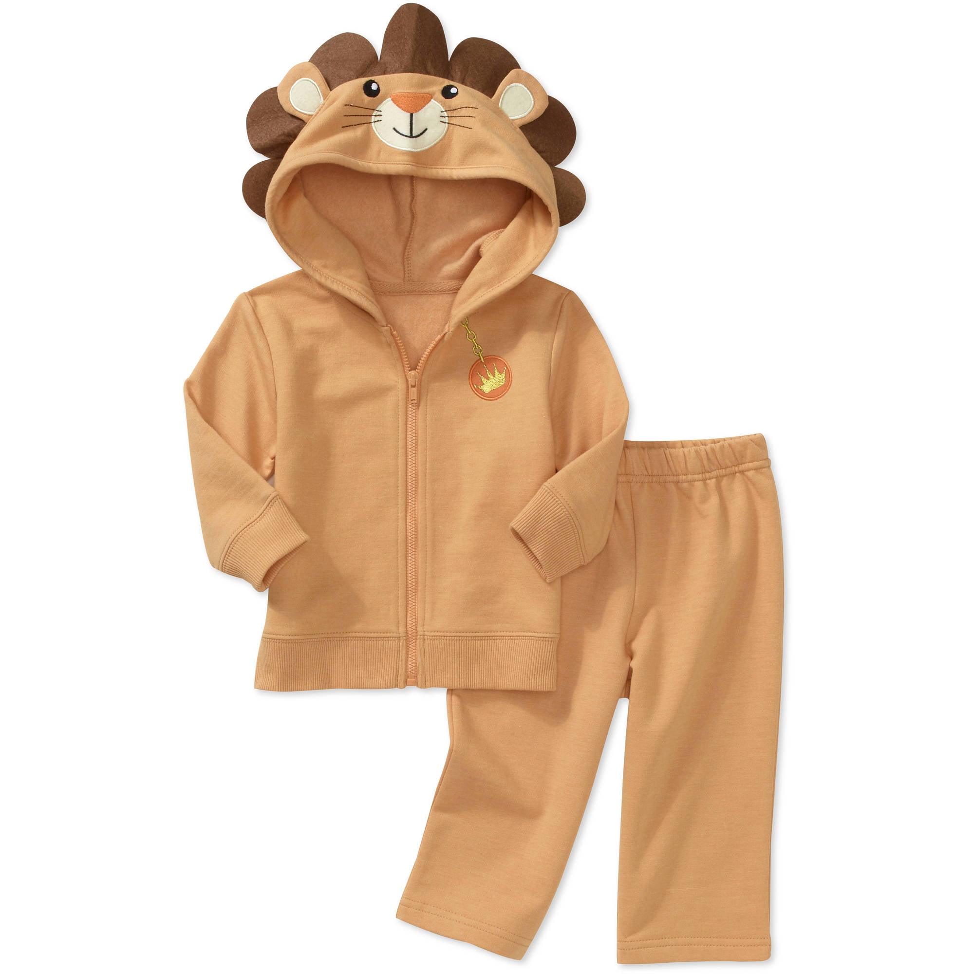Newborn Boys' 2 Piece Animal Hoodie And