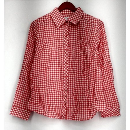 Denim & Co. Top Sz S Gingham Button Front Long Sleeve Plaid Shirt Pink A288724