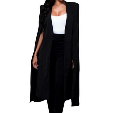 (Toponeto) Women Loose Long Cloak Blazer Coat Cape Cardigan Jacket Trench Outwear BKL thumbnail