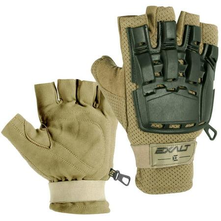 Exalt Paintball Hardshell Gloves - Hard Back Fingerless - Tan