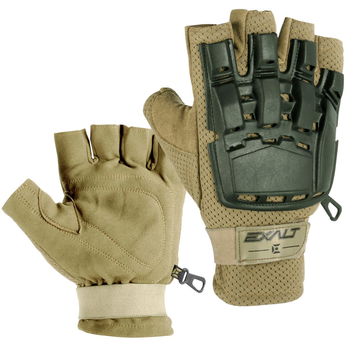 Exalt Paintball Hardshell Gloves - Hard Back Fingerless - Tan
