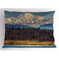 Alaska Pillow Sham Colorful Summer Season in Northwest America Snow White Mountains River Fresh Forest, Decorative Standard Size Printed Pillowcase, 26 X 20 Inches, Multicolor, by Ambesonne