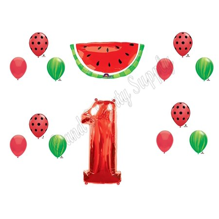 WATERMELON First 1st Birthday Party Balloons Decoration Supplies Tutti Fruiti, 1st Birthday Watermelon Theme Balloon Decorations Supplies By Party - Country Themed First Birthday