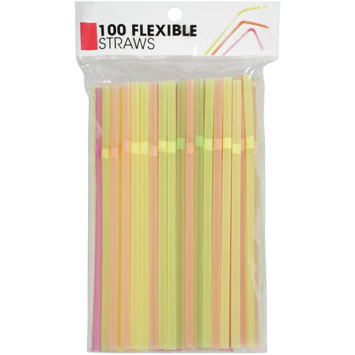 Flexible Neon Straws, 100 count