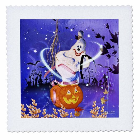 10 Inch Pumpkin - 3dRose Halloween Ghost and Pumpkin - Quilt Square, 10 by 10-inch