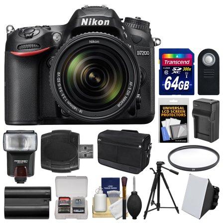 Nikon D7200 Wi-Fi Digital SLR Camera & 18-140mm VR DX Lens with 64GB Card + Case + Flash & Soft Box + Battery/Charger + Tripod + Filter + Kit