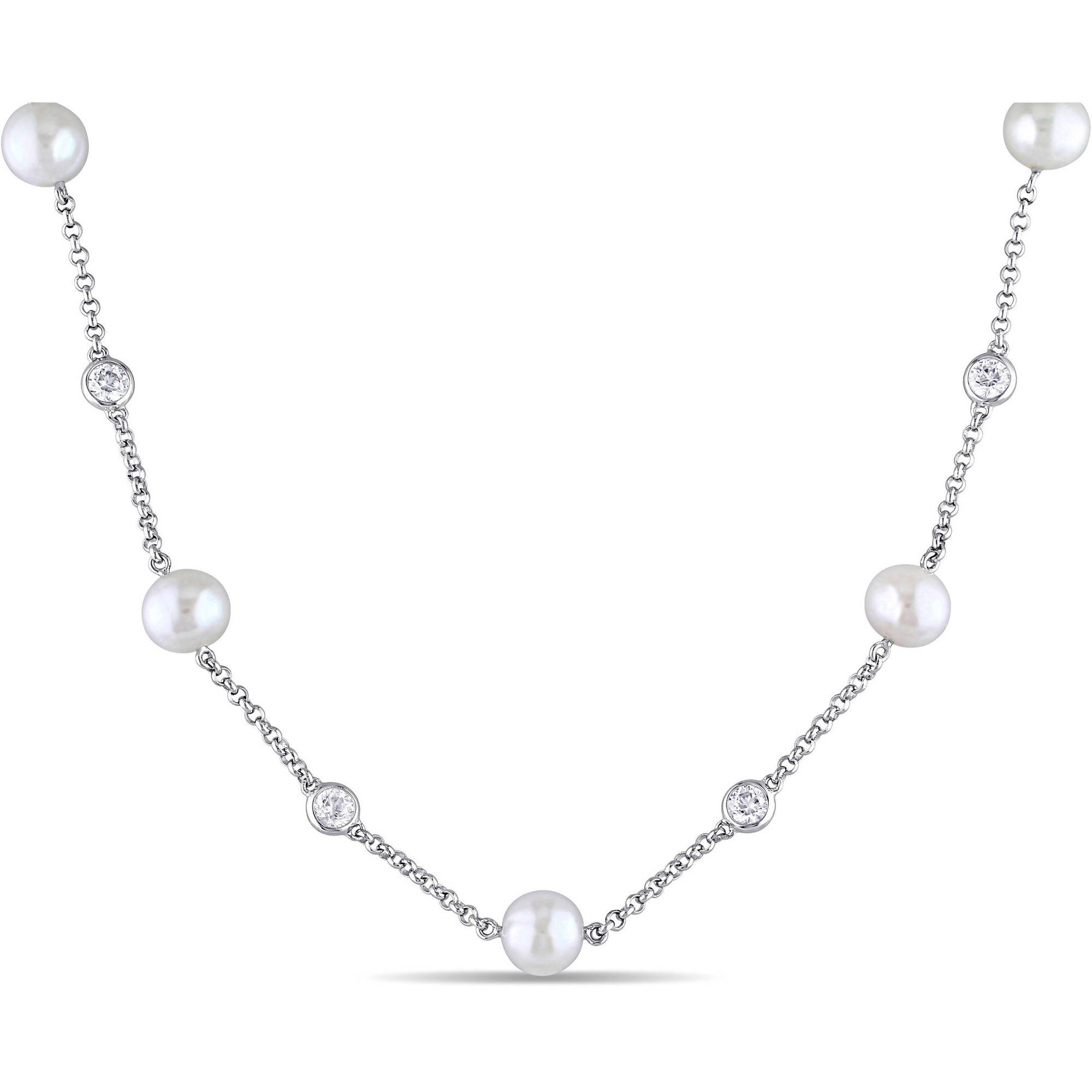 Miabella 8-8.5mm White Cultured Freshwater Pearl and 2-3 5 Carat T.G.W. Created White Sapphire Sterling Silver Station... by Miabella