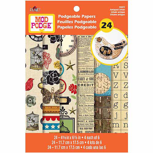 Plaid Enterprises Mod Podgeable Papers 4.625 X6.875  24 Sheets/Pkg - Antique Urban