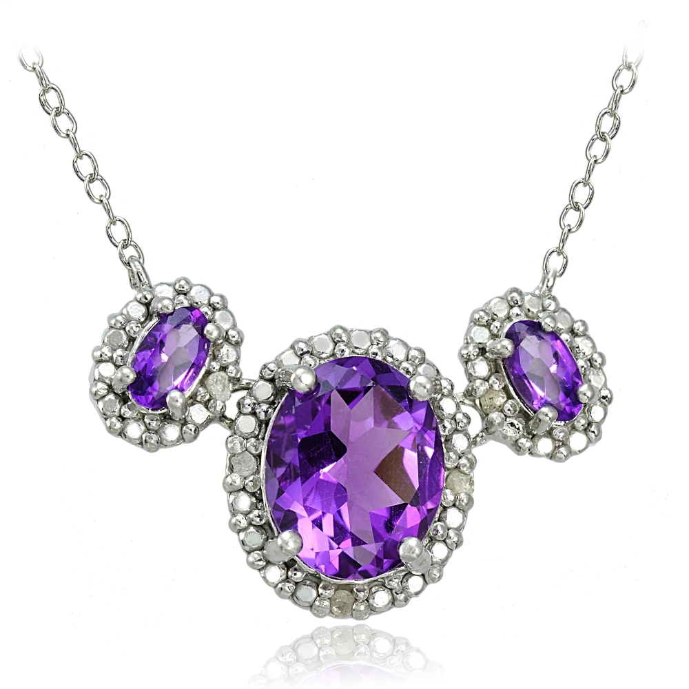 Sterling Silver 2ct TGW African Amethyst and Diamond Three Stone Necklace by