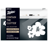 Ziploc Brand Chic Collection Accessory Bags (5 Essential and 5 Skinny), 10 Total Bags